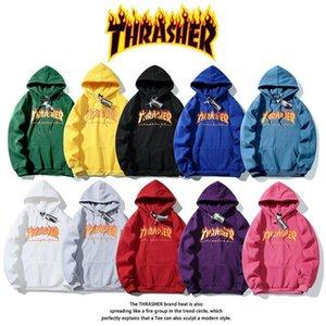 19ss Hip Hop manga comprida com capuz Hoody dos homens hoodies camisolas THRASHER Chama Vestuário clássico Imprimir além de veludo com capuz roupas