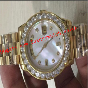 Free Shipping 9 Style Luxury Watches 36mm 116244 18K Gold White Bigger Diamond Dial Bezel Quickse Automatic Mens Watch Wristwatch