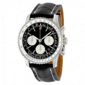 Роскошные мужские часы хронограф Navitimer 1884 1 46 мм автоматический механизм self-ветер круговым движением маленький циферблат работает с кнопки кожаный часы