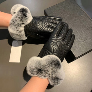 Luxury Rabbit Hair Goat Leather Gloves For Women Top Quality Chic Women's Glove Female Thick Warmer Winter Gloves Windproof Fashion Winter A