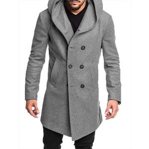 남성 새로운 스타일 패션 핫 겨울 따뜻한 트렌치 코트 포켓 영국 스타일의 모직 캐주얼 트렌치 외투 긴 탑 솔리드 버튼