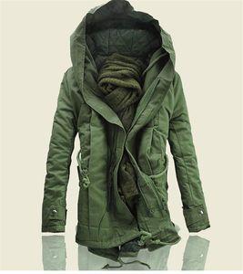 Padded Mantel plus Größe Military-Jacke Herren Mäntel Herrenmode Designer-Jacken-Winter mit Kapuze langer Stil Baumwolle