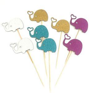 En gros 10 pcs Mignon Éléphant Cupcake Toppers Cuisson Plug-in Dress up Éléphant Gâteau D'anniversaire Décoration De Noce Décoration Fournitures DH1213