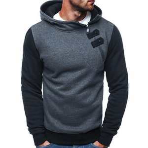 Side Zipper Hoodies Uomini Felpa in cotone Autunno Patchwork sportivo Slim Pullover Tuta Hip Hop Streetwear