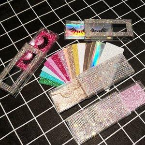 Nouveau rectangle de diamants acrylique faux cils boîte d'emballage des boîtes de vison cils faux cils boîte en plastique transparent avec plateau