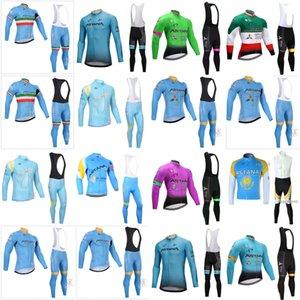 ASTANA ekibi Bisiklet Uzun Sleevess Formalar (önlük) Hızlı Kuru Breatheble Bisiklet Sportwear Yol Bisikleti Ropa Ciclismo B616-43