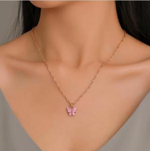 Dolce fascino della farfalla collane del choker Dichiarazione Catena Chai della resina di modo pendente della farfalla collana di colore dell'oro per le donne Lady