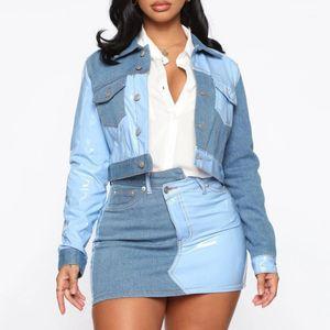 Blocco di colore Patchwork donna Retro Denim due set pezzi Feminino Breve rivestimento del cappotto e Minigonne causale Donne Imposta Suits1