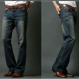 ICPANS Mens Flared Jeans Bootcut Bota cortar Jeans Leg Fit clássico Denim Jeans alargamento Vintage Masculino Calças retas CX200701