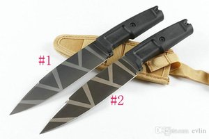 New Arrival Outdoor Survival Straight Knife 8Cr13Mov Titanium Coated Blade ABS Rubber Handle Fixed Blade Knives With Nylon Sheath