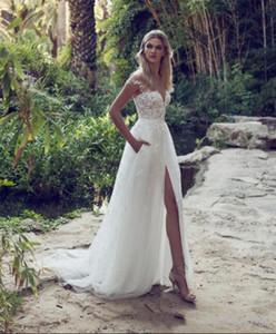 عالية الأزياء بالجملة فساتين الزفاف خط الرباط الوهم صد جوهرة قطار المحكمة خمر حديقة شاطئ بوهو حفل زفاف فستان الزفاف