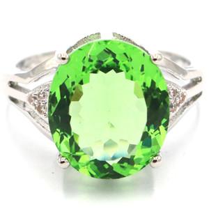 19x14mm 7.0 # Büyüleyici Yeşil Tsavorite Garnet Beyaz cz SheCrown Gümüş yüzükler