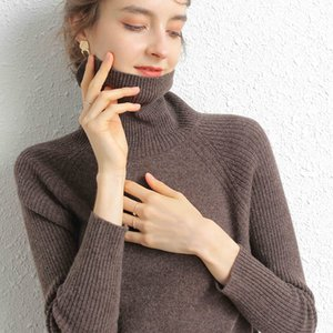 Merino Wool Cashmere Sweater 11 Colors Turtleneck Raglan Long Sleeves Sweater Strips Women's Knitting Pullovers 2020 New Fashion