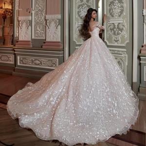 Robe de mariée Princesse De Luxe 2020 bola Vestidos de boda brillante de abalorios de cristal de lujo de la cintura vestido de encaje más el tamaño con la enagua