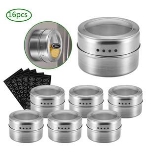 Set Spice Jar magnético com aço inoxidável adesivos Spice latas Spice Storage Container Pimenta Tempero Pulverizadores Ferramentas Kitchen Jar