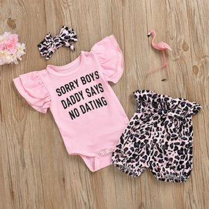Baby Designer Clothing Sets Rompers New Born Baby Brand Letter Print Ropmers + Leopard Shorts + Hair Accessoires Kids Thress Pieces Set New