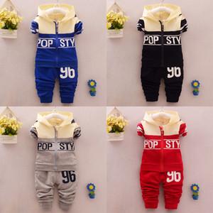 2019 produtos de venda quente estilo Primavera algodão Zipper gola redonda hoodies 96 # padrão terno com manga comprida e calças para meninos e meninas