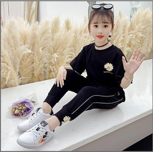 New fashion kid girl clothes suit summer short sleeve mini boss T-shirt top + pants clothing children suit