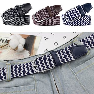 Men Woman Metal Covered Buckle Woven Elastic Stretch Belt 2019