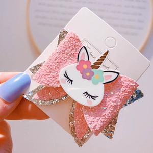 Ins sequin hair bows girls hair clips Unicorn kids barrettes pearl Mermaid baby BB clips designer girls hair accessories B1309