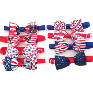 50 100pcs Small Dog Bow Ties American Independence Day Dog Bowties Hand-made Pet Dog Neckties for 4th July