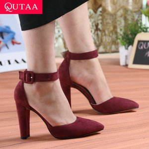 QUTAA 2020 Women Pumps Fashion Women Shoes Party Wedding Super Square High Heel Pointed Toe Red Wine Ladies Pumps Size 34-43 Y200702