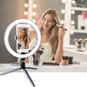 Fotografia de LED selfie espelho Luz 260mm Dimmable compõem Lamp Camera Phone com a Tabela Tripés titular suporte do telefone