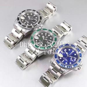 Роскошные Rbow радуги бриллиант безель Сапфир выставке Baselworld часы мужские автоподзаводом ета 2836 зеленые часы мужские Спорт дата наручные часы 116610LV суб