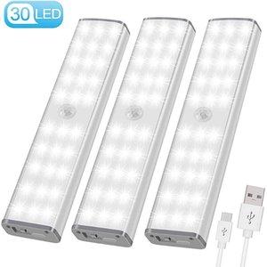 USB sensores movimiento de luz LED LED Wireless Cocina / Lámpara de pared 3 Modo de Nivel de brillo 30 LED armario / Armario / Bajo la luz del gabinete