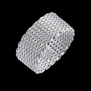 Anelli netti 925 rotonda placcato argento intrecciato S925 piano dell'anello della fascia di tendenza moda generoso partito Progettato Ballando regalo elegante POTALA040