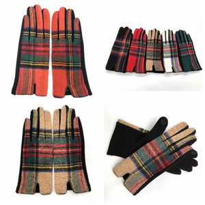 Women Plaid Warm Gloves Fashion Cycling Winter Mittens Outdoor Wool Check Warmer Drive Mittens Grid Gloves TTA1843