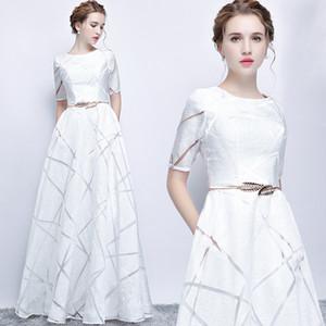 Uizvtik Vestido de Verão Para As Mulheres 2019 Elegante Formal Vestido De Baile Longo Vestido de Festa Feminino Casual Plus Size Magro Maxi Vestidos Branco MX190727