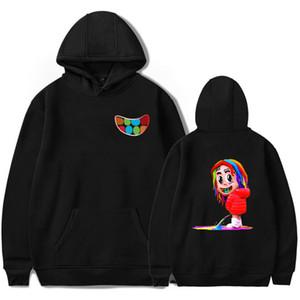 69 6ix9ine Karikatür Hoodie Erkekler Kapşonlu Sweatshirt Rapçi Hip Hop Sokak Giyim Sweatershirts Kaykay Erkek / Kadın Komik Giyim