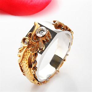 Anelli di gioielli drago color oro Anello in acciaio di cristallo di moda Anello da uomo stile zircone per uomo