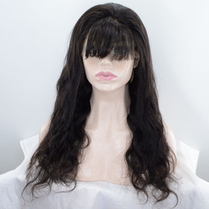 body wave full lace human hair wigs with bangs 150% high density lace front wigs loose body wave lace wigs for women