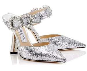 {Original Box} Sparkling Lantejoulas Lace casamento Red Shoes Confortável Designer de noiva dedo do pé Pointed JC Salto Alto Vestido sapatos salto agulha