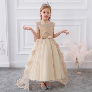 2020 Summer Long Bridesmaid Girl Lace Princess Dress Kids Dresses For Girls Children Clothing Party Wedding Dress Elegant Gown