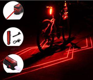 Складной лазерный свет велосипед преломлять Переднюю Задняя безопасность Предупреждения Света Регулируемого USB аккумуляторной Multi-Function хорошего качество Бесплатной доставки