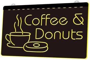 LS1156 0 Açık Kahve Donuts Cafe Bar Nr RGB Çoklu Renk Uzaktan Kumanda 3D Gravür LED Neon Işık İşaret Dükkanı Bar Pub Kulübü