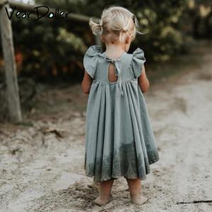 Veardoller meninas casual dress 2019 novo verão de manga curta lace-up das crianças dress algodão crianças vestidos para a menina vestido de princesa y190516