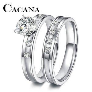 Aço inoxidável cacana do casamento do anel para amantes do IP SIER cor cristal CZ anéis casal Set Homens Mulheres de noivado anéis de casamento