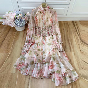 wholesale Designer de mulheres sexy bandagem flor imprimir outono vestido de festa manga comprida babados assimétricos vestidos robe femme