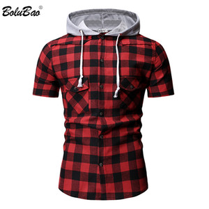 BOLUBAO Fashion Men Shirt 2019 Summer Plaid Printing Casual  Men Hooded Short Sleeve Shirt Male Tuxedo Shirts
