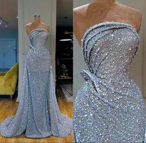 Chegada Nova mangas Prata Sereia Vestidos 2021 Prom Dress Sequined Formal Evening vestidos de robe de soiree Abendkleider
