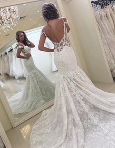Romantic Lace Mermaid Wedding Dress Modest Open Back Spaghetti Straps Garden Bridal Gown Custom Made Plus Size Long Wedding Gowns