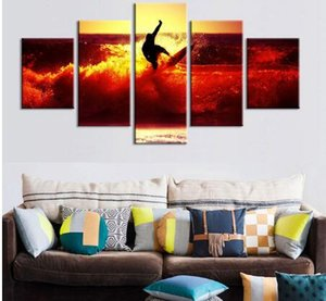 5 Панель Unframed холст Фото Отпечатки море Серфинг Wall Art Picture полотна стена украшение Artwork