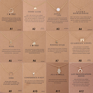 New Arrival Dogeared Necklace With Gift card Elephant Pearl Love Wings Cross Key Zodiac sign Compass lotus Pendant For women Fashion Jewelry