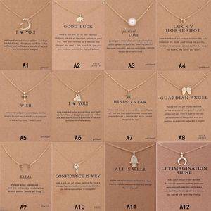 Chegada Nova Colar Dogeared Com Zodiac Key cartão de presente do elefante pérola amor Asas Cruz assinar Compass pingente de lótus Para as mulheres moda jóias