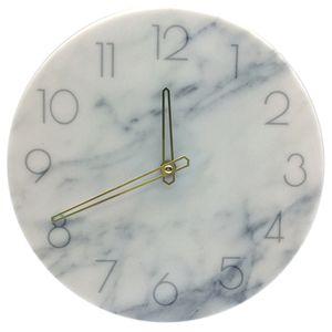 Mur Marbre nordique Horloge moderne Minimaliste Chambre Art Clocks Personnalité Creative Living Wall Mode Salle Watch (Blanc)