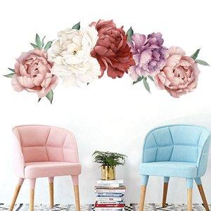 Çocuk Odası Salon Yatak Odası Ev Dekorasyon Duvar Çıkartması Ev Dekorasyonu Bebek Nursery hakkında Güzel Pembe Şakayık Çiçek Duvar Etiketler